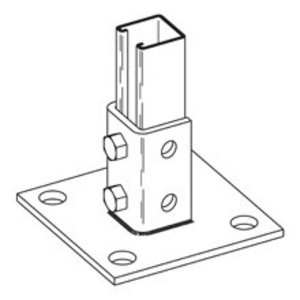 "Cooper B-Line B280SQZN Strut Post Base, Single, 6"" X 6"" X 3-1/2"", Steel/Zinc Plated"
