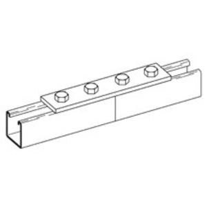 "Cooper B-Line B341ZN Four Hole Splice Plate, Zinc Plated, 7-1/4"" Long"