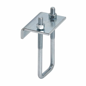 """Cooper B-Line B441-22AZN Beam Clamp, 3/4"""" Flange, Hex Nut and U-Bolt Included, Steel"""