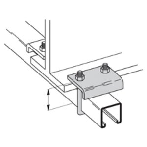 """Cooper B-Line B441-22ZN Beam Clamp, 3/4"""" Flange, Hex Nut and U-Bolt Included, Steel"""