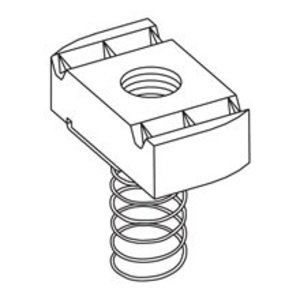 Cooper B-Line N228ZN Spring Nut, 200 Series, Size: 3/8-16, Steel/Zinc Plated