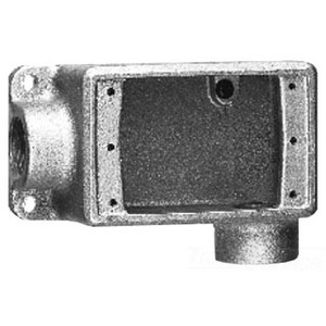 """Cooper Crouse-Hinds FDL2 FD Device Box, 1-Gang, Feed-Thru, Type FDL, 3/4"""", Malleable Iron"""