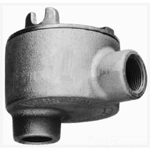 """Cooper Crouse-Hinds GUAB26 Conduit Outlet Box, Type GUAB, (2) 3/4"""" Hubs, Malleable"""