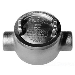 "Cooper Crouse-Hinds GUAC59 Conduit Outlet Box, Type GUAC, (2) 1-1/2"" Hubs, Malleable Iron"