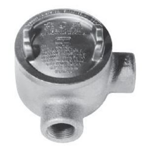 "Cooper Crouse-Hinds GUAL14SA Conduit Outlet Box, Type GUAL, (2) 1/2"" Hubs, Aluminum"