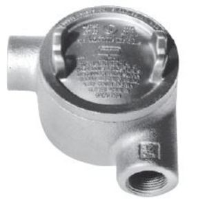 "Cooper Crouse-Hinds GUAN47 Conduit Outlet Box, Type GUAN, (2) 1-1/4"" Hubs, Malleable"
