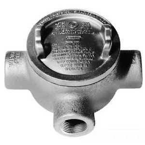 """Cooper Crouse-Hinds GUAT26 Conduit Outlet Box, Type GUAT, (3) 3/4"""" Hubs, Malleable Iron"""