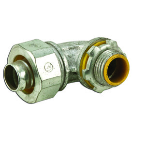 "Cooper Crouse-Hinds LTB5090 Liquidtight Connector, Insulated, 90°, Size: 1/2"", Malleable Iron"