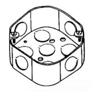 "Cooper Crouse-Hinds TP276 4"" Octagon Box, 1-1/2"" Deep, 3/4"" & 1/2"" KOs, Steel"