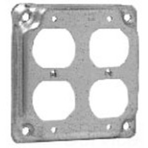 "Cooper Crouse-Hinds TP510 4"" Square Exposed Work Cover, (2) Duplex Receptacles, 1/2"" Raised"