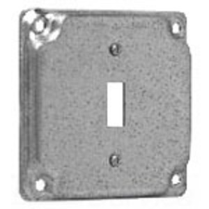 "Cooper Crouse-Hinds TP512 4"" Square Exposed Work Cover, (1) Toggle Switch, 1/2"" Raised"