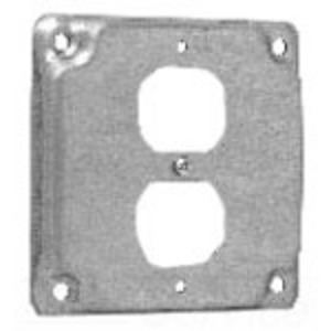 "Cooper Crouse-Hinds TP516 4"" Square Exposed Work Cover, (1) Duplex Receptacle"