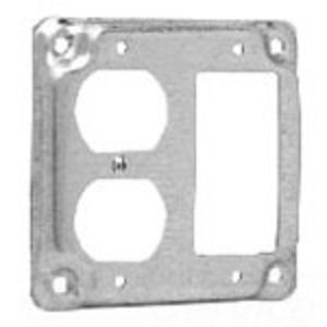 "Cooper Crouse-Hinds TP517 4"" Square Exposed Work Cover, (1) Duplex Receptacle, (1) GFCI, 1/2"" Raised"