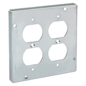 """Cooper Crouse-Hinds TP531 4-11/16"""" Square Fixture Cover, 1-Device, 2"""" Raised, Steel"""