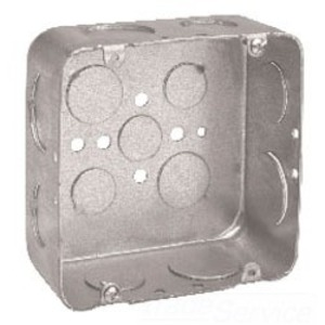 "Cooper Crouse-Hinds TP558 4-11/16"" Square Box, Drawn, Metallic, 2-1/8"" Deep"