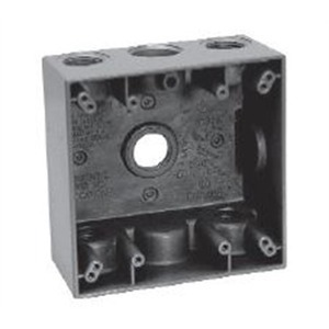 "Cooper Crouse-Hinds TP7106 Weatherproof Outlet Box, 2-Gang, Depth: 2"", (5) 3/4"" Hubs, Aluminum"