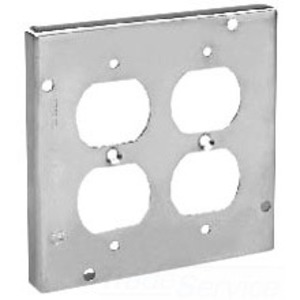 "Cooper Crouse-Hinds TP728 4-11/16"" Square Cover, 1/2"" Raised, 2-Device"