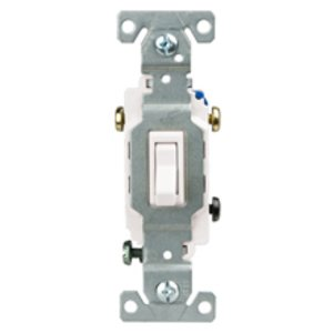 Cooper Wiring Devices 1303-7W Three-Way Switch, 15A, 120/277V, White