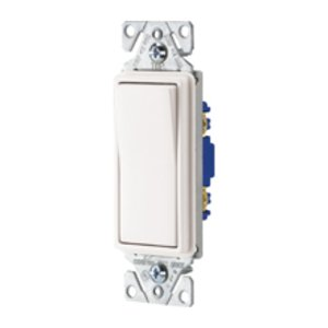 Cooper Wiring Devices 7501W Single Pole Decora Switch, 15A, 120/177VAC, White