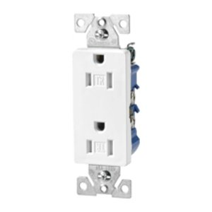 Cooper Wiring Devices TR1107W Tamper Resistant Decora Duplex Receptacle, 15A, 125V, White