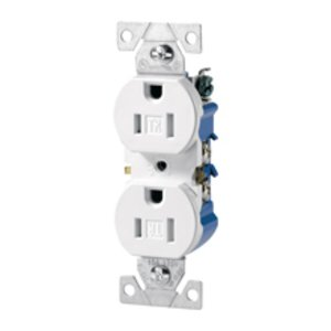 Cooper Wiring Devices TR270W Duplex Receptacle, 15A, 125V, White, 5-15R