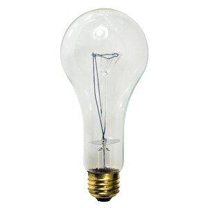 Damar 06092C Incandescent Bulb, Rough Service, A23, 200W, 130V, Clear