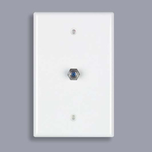 DataComm Electronics 30-2022 Wall Plate, Coax/F Connector, 2.4 GHZ, 1-Gang, White, Midi Plate