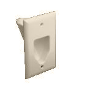 DataComm Electronics 45-0001-LA Recessed Plate, 1-Gang, Light Almond