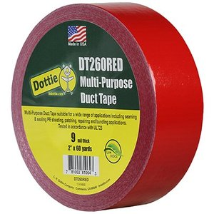 """Dottie DT260RED Duct Tape, 2"""" x 60 Yards, Red"""