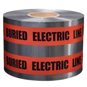 """Dottie DU601 Detectable Barricade Tape, """"Buried Electric Line Below"""", 6"""" x 1000', Red"""