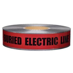 "Dottie DU609 Detectable Tape, CAUTION BURIED HIGH VOLTAGE LINE, Red, 6"" x 1000'"