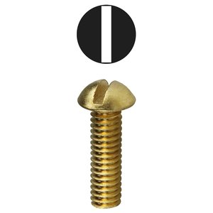 "Dottie RMB1434 1/4-20 x 3/4"" Round Head Machine Screw, Solid Brass"