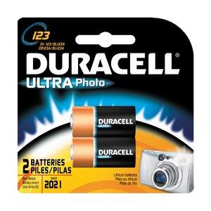 Duracell DL123AB2PK Battery, 3V, 123, Lithium, Photo