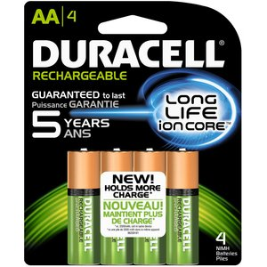 Duracell DX1500B4N Battery, 1.2V, AA, Nickel Metal Hydride, Rechargeable