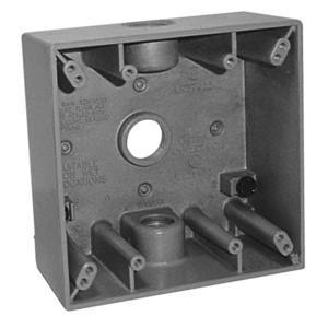 """EGS WSM250 Weatherproof Outlet Box, 2-Gang, Depth: 2"""", (3) 1/2"""" Hubs, Die Cast"""