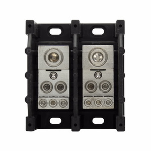 Eaton/Bussmann Series 16332-2 Power Distribution Block, 2-Pole, Single Primary - Multiple Secondary