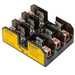 "Eaton/Bussmann Series BM6033B Fuse Block, Type M, 3-Pole, 1/10-30A, 600V, 13/32"" x 1-1/2"" Fuses"