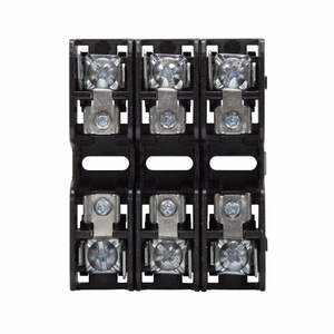 Eaton/Bussmann Series BMM603-3PQ Fuse Block, 3P, 30A, 600V AC/DC, 10 x 38mm, Quick Connect, 200kAIC