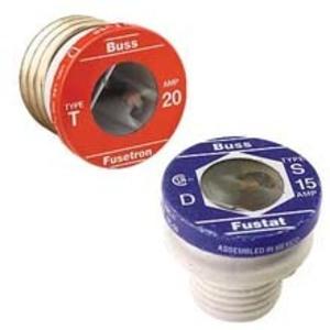 Eaton/Bussmann Series T-1 1 Amp Plug Fuse, Dual-Element, Time-Delay, Edison Base, 125V