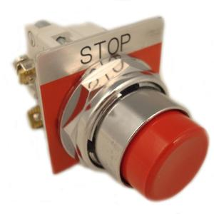 Eaton 10250T31R-POP Push Button, Extended Red, w/Legend Plate, 1NO/NC, Momentary
