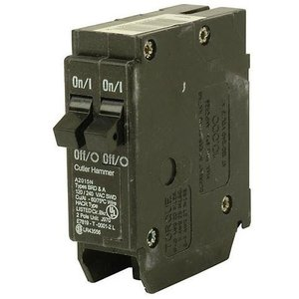 Eaton BR2020 Breaker, 20/20A, 1P, 120/240V, 10 kAIC, BR Series, Duplex