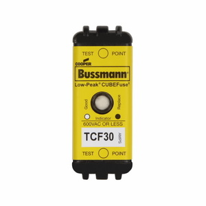 Eaton/Bussmann Series TCF30 Fuse, Low-Peak CUBEFuse, Indicating, 30A, 600VAC, 300VDC