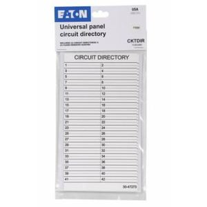 Eaton CKTDIR Load Center, Circuit Directory, 42 Circuit, 2 per Bag, Plastic