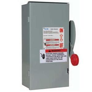 Eaton DH161NRK Safety Switch, 30A, 1P, 600VDC, HD, Fusible, NEMA 3R