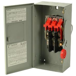 Eaton DH221NGK Safety Switch, 30A, 2P, 240V/250VDC, HD Fusible, NEMA 1