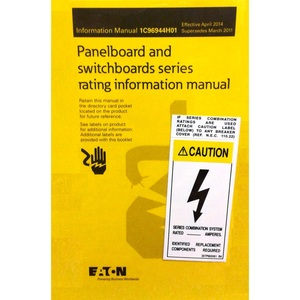 Eaton SRK Panel Board, Pow-R-Stock, Series Rating Kit, Book, Sleeve, Stickers