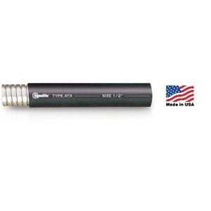 "Electri-Flex 62202 Liquidtight Flexible Steel Conduit, High/Low Temp, 3/4"", Black, 100'"