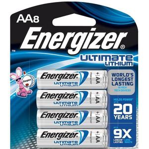 Energizer L91BP-8 Battery, AA, Lithium, 1.5 Volt, 2900 mAh, 8 Pack