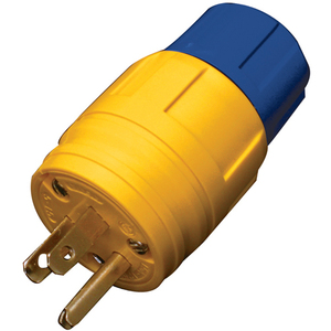 Ericson 1510-PW6P Straight Blade Plug, 15A, 125V, Yellow, Perma-Tite, 2P3W