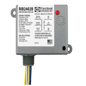 Functional Devices RIB2402B Relays, 20 Amp, 24V AC/DC/208-277VAC Coil, SPDT, Power Control